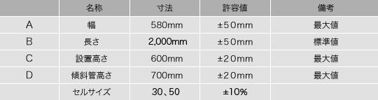 傾斜管 製品標準寸法
